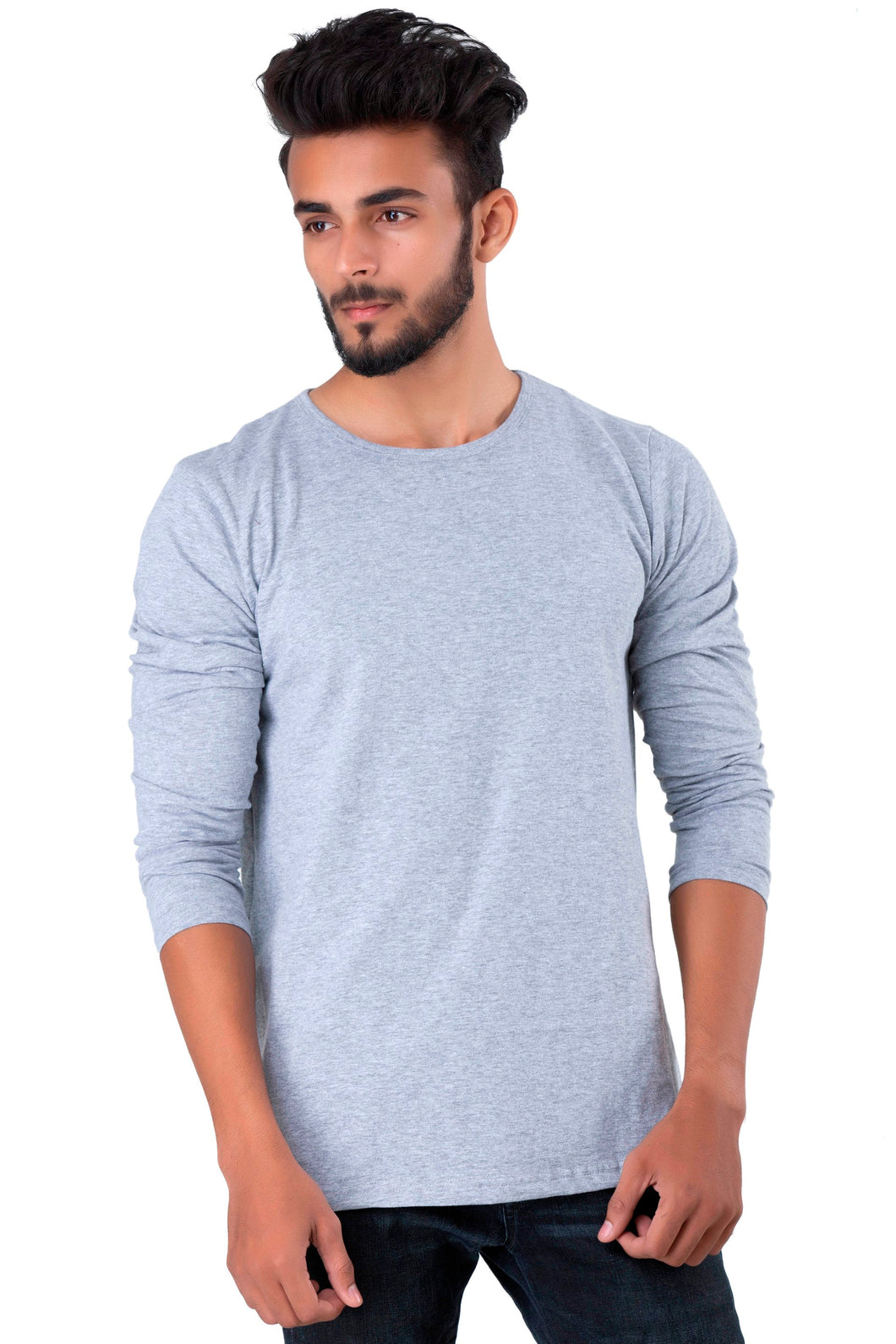 Full Sleeve Melange Plain Round neck Tee