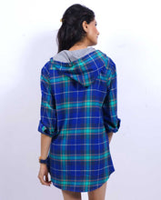 Load image into Gallery viewer, Bollywoo- JUDGEMENTALL HAI KYA Checkered Shirt dress with hoodie