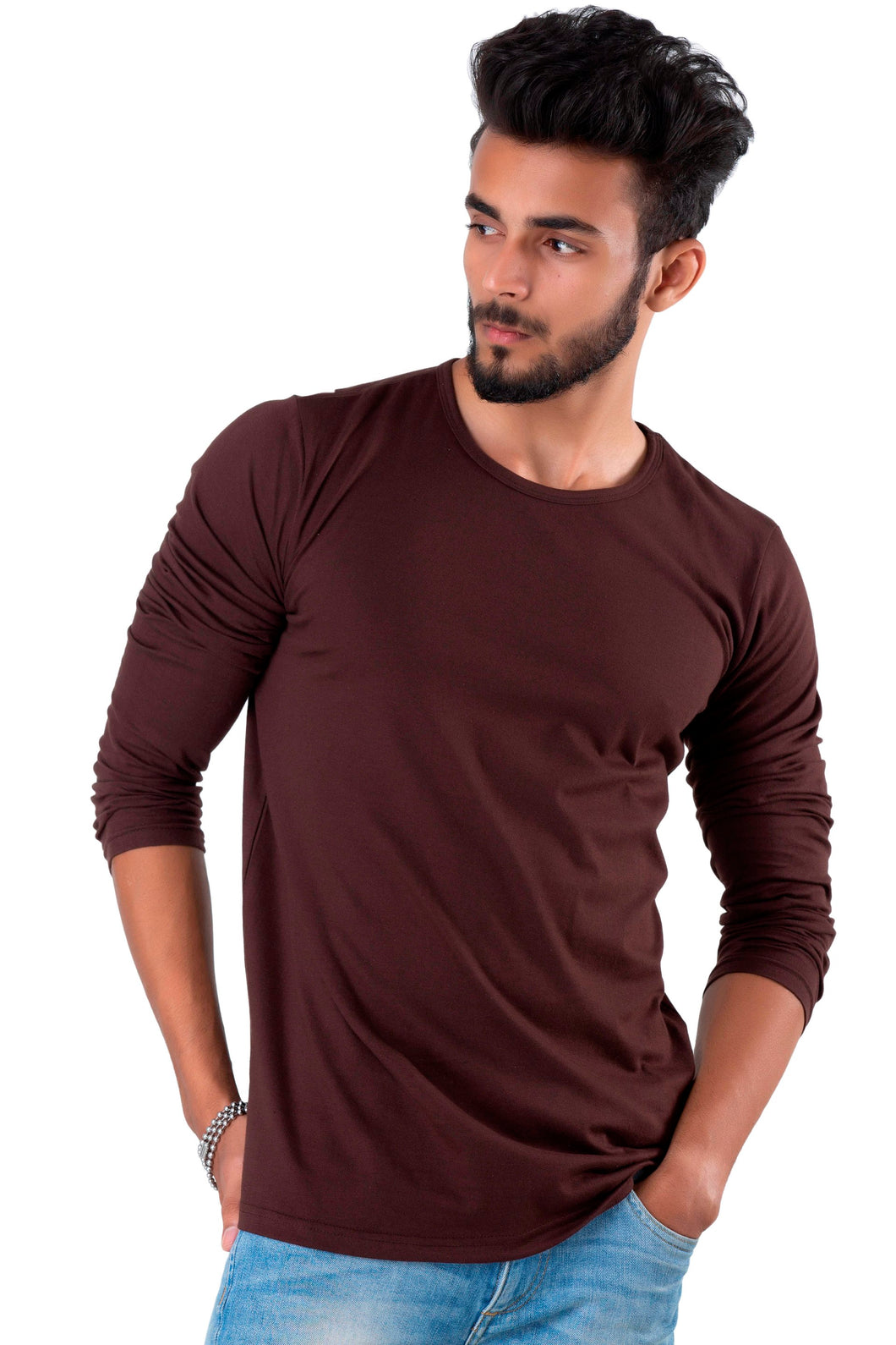 Full Sleeve Brown Plain Round neck Tee