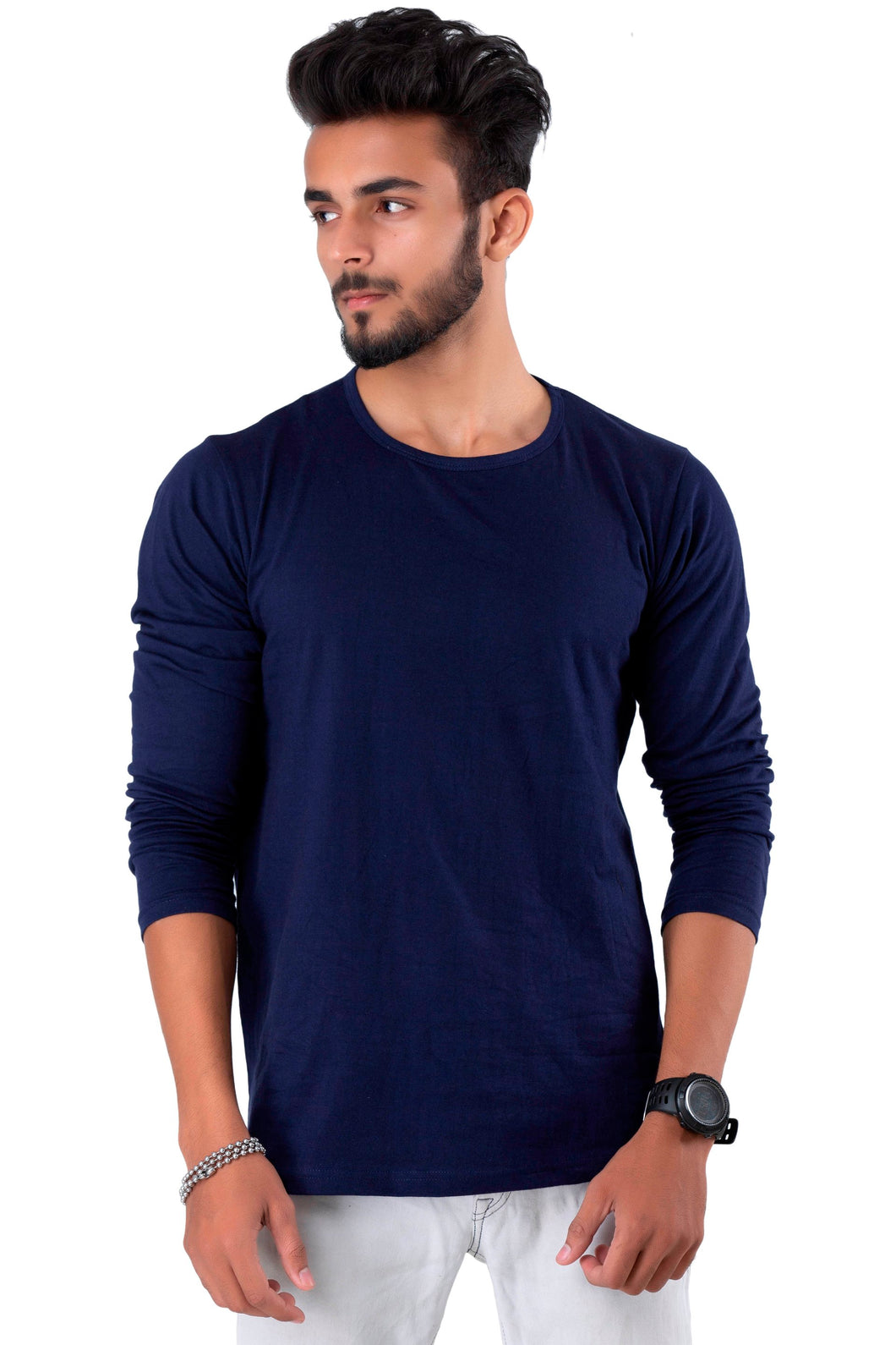 Full Sleeve Navy Plain Round neck Tee