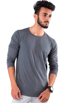 Full Sleeve Steal Grey Plain Round neck Tee