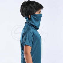 Load image into Gallery viewer, Defender - Turtle Neck Teal Blue Mask Tee Matrix design