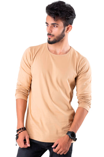 Full Sleeve Biscuit Plain Round neck Tee