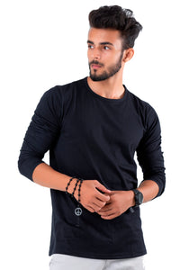 Full Sleeve Black Plain Round neck Tee