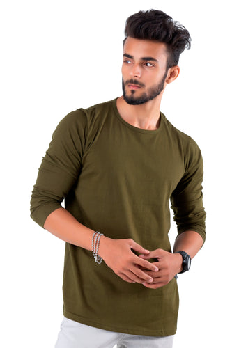 Full Sleeve Olive Plain Round neck Tee