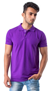 Half Sleeve Purple Plain Polo Tee