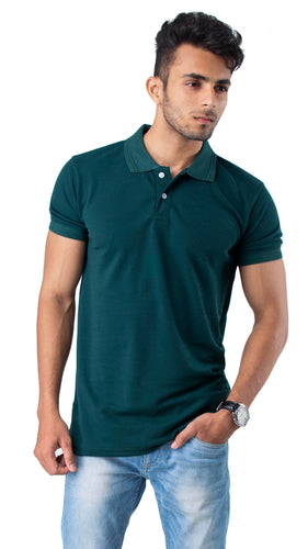 Half Sleeve Green Plain Polo Tee