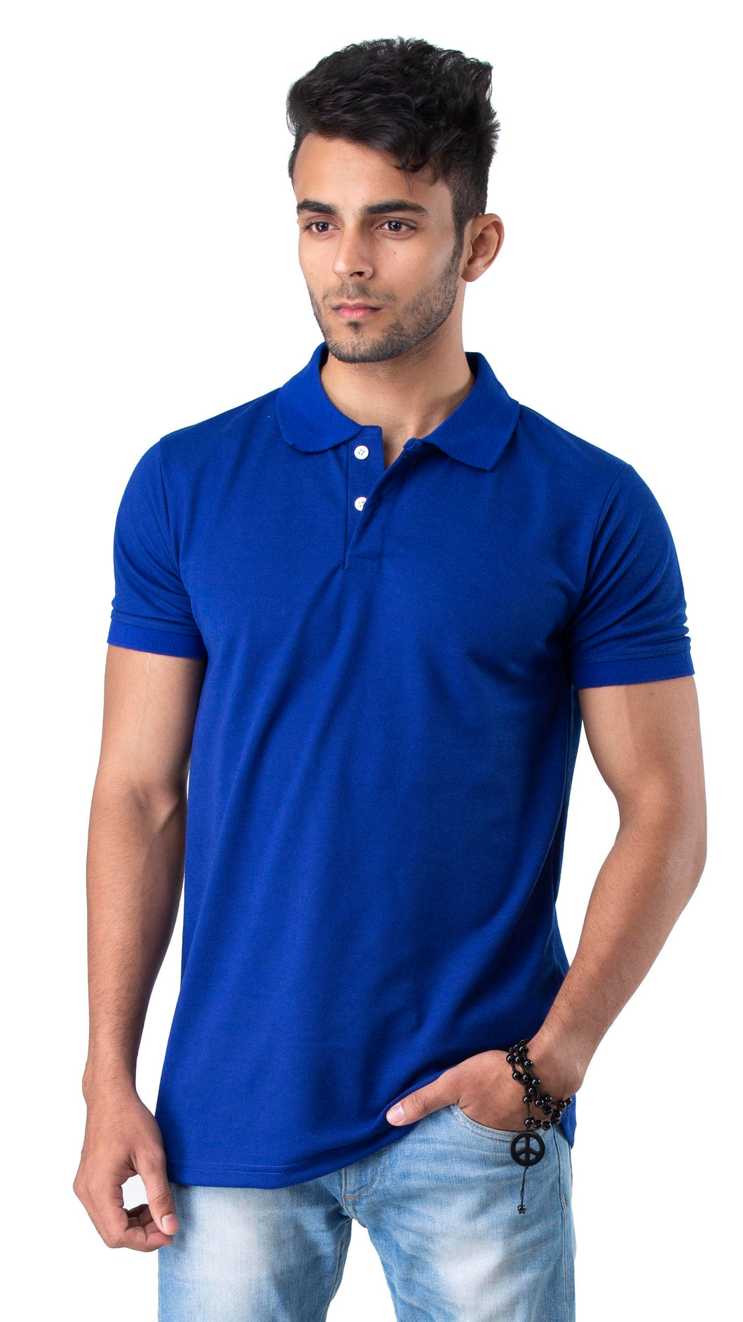 Half Sleeve Royal Blue Plain Polo Tee