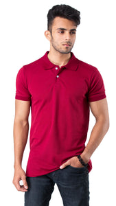 Half Sleeve Maroon Plain Polo Tee