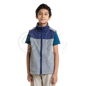 Polar English Fleece Bomber Vest - Light Grey & Blue