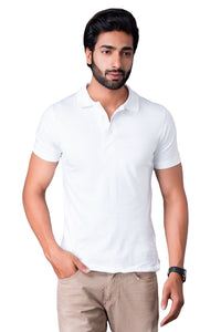 Half Sleeve White Plain Polo Tee