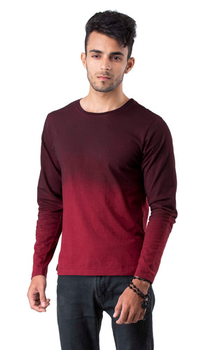 Full Sleeve Maroon Round Neck Tee
