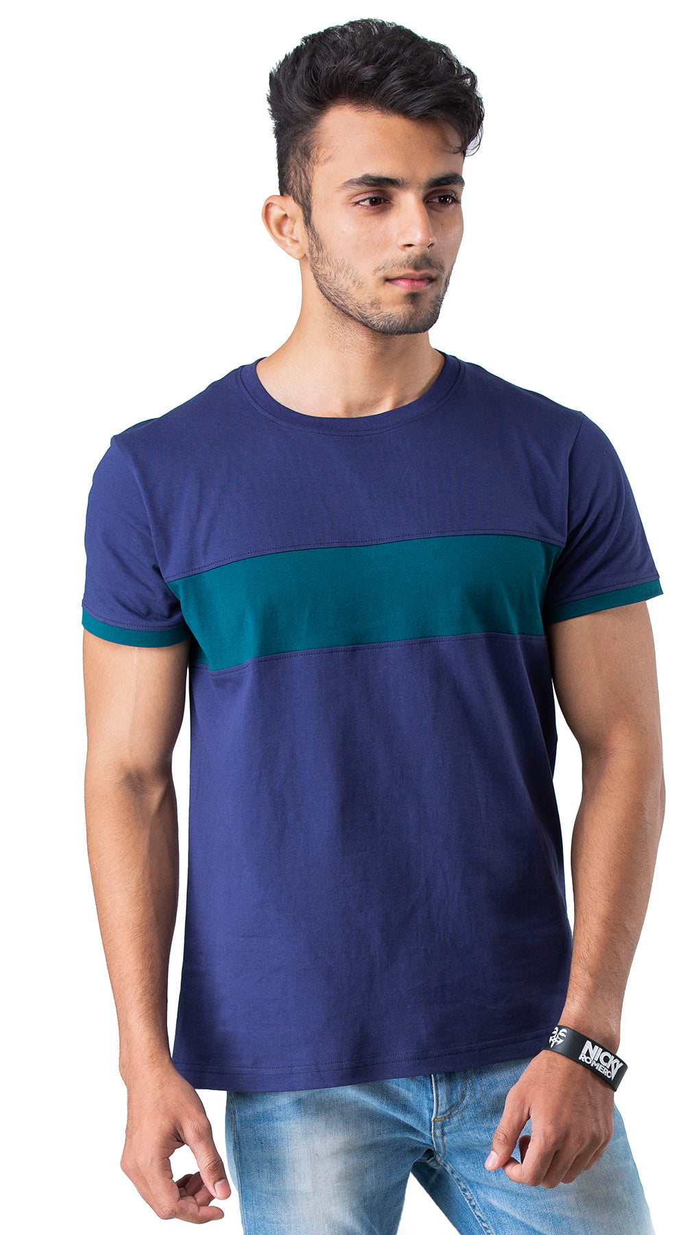 Half Sleeve Blue Green cut Round neck Tee