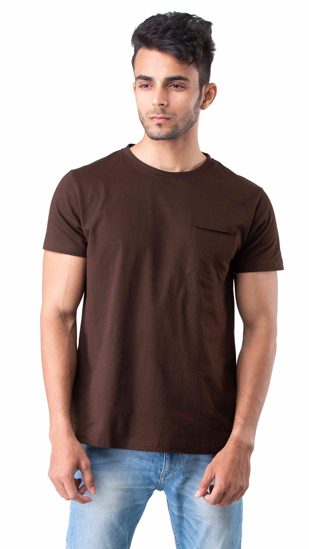 Half Sleeve Maroon With Pocket Round neck Tee