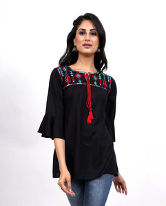 Bollywoo- LUKA CHUPPI Black Embroidered Top