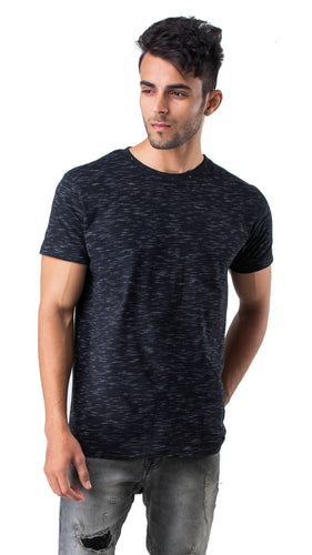 Half Sleeve Black Printed Round neck Tee
