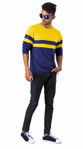 Full Sleeve Mustard Blue Round Neck Tee