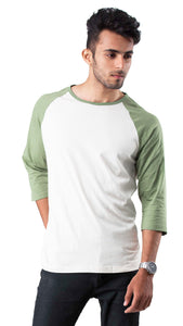 3/4th Sleeve White Green Round Neck Tee