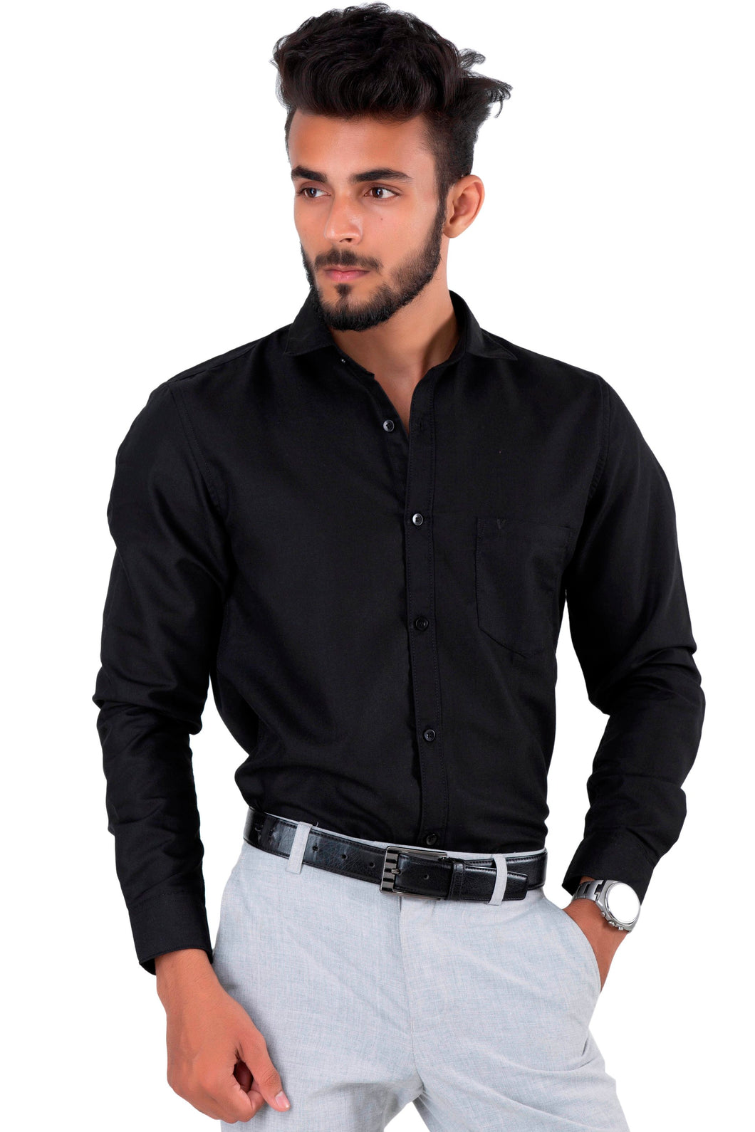 Full Sleeve Navy Black Casual Shirt