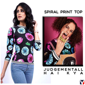 Bollywoo- JUDGEMENTALL HAI KYA Spiral Print Top