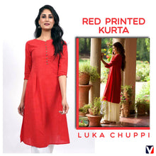 Load image into Gallery viewer, Bollywoo- LUKA CHUPPI Red printed Kurta