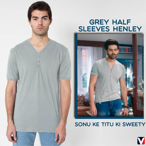 Bollywoo- SONU KE TITU KI SWEETY Grey Half Sleeves Henley