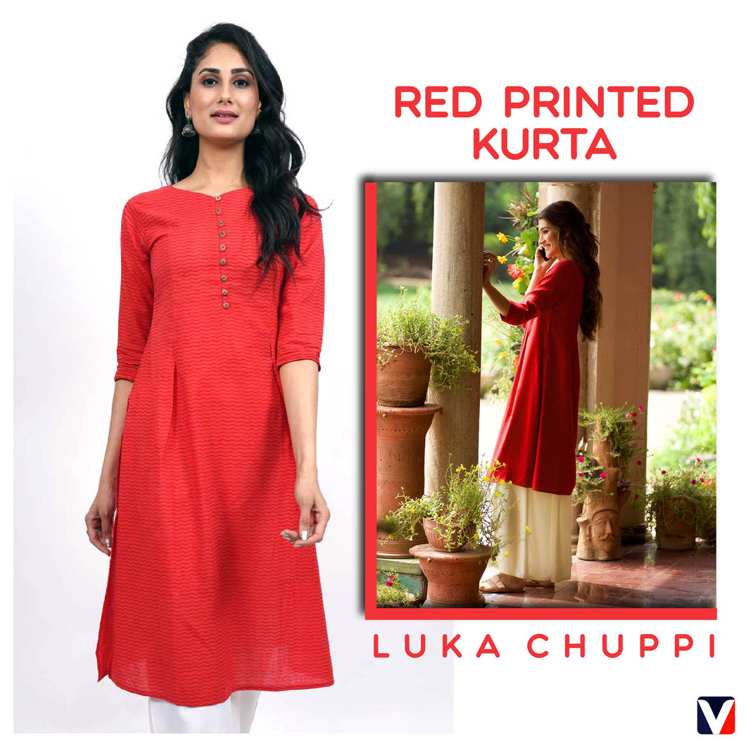 Bollywoo- LUKA CHUPPI Red printed Kurta