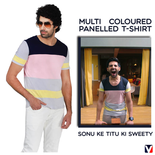 Bollywoo-SONU KE TITU KI SWEETY Multi Coloured Panelled T-shirt