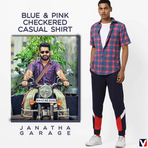 Bollywoo-JANATHA GARAGE Blue & Pink Checkered Casual Shirt