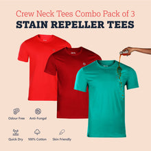 Load image into Gallery viewer, Pack of 3 Zero Stain Crew Neck 100% Premium Cotton T-shirts (Maroon, Salmon Red & Green)