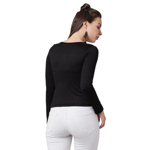 Scoop-UpBlack Casual Top