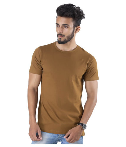 Half Sleeve Light Brown Plain Round neck Tee