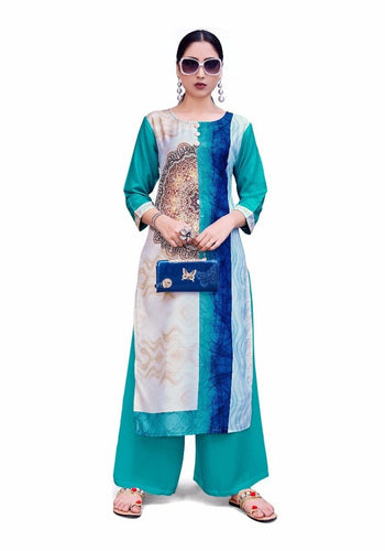 Aqua and White Printed 3/4th Sleeve Straight Kurti