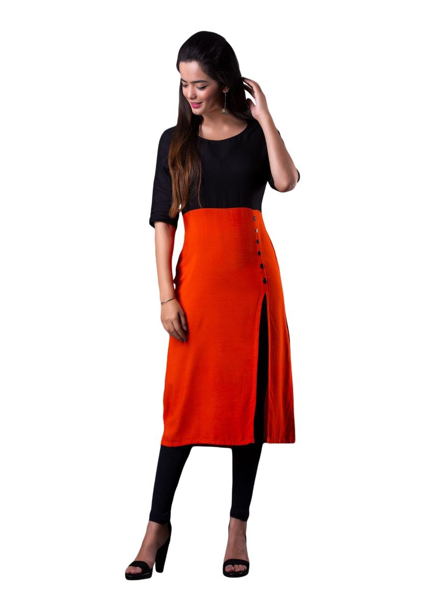 Orange and Black Solid Color Block Half Sleeve Straight Kurti