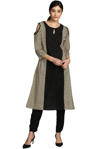 Beige and black cotton kurti