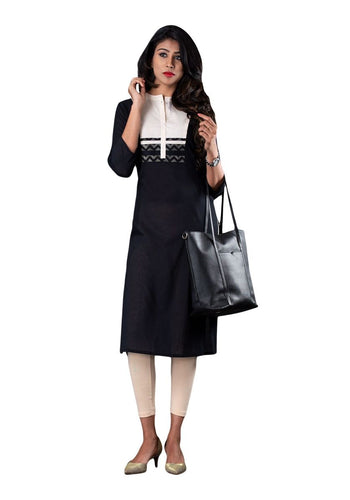 Beige and Black Solid Color Block Straight 3/4th Sleeve Kurti