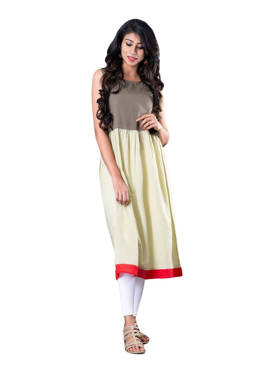 Beige and Grey Solid Color Block Flared Sleeveless Kurti