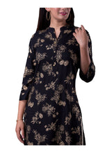 Load image into Gallery viewer, Black And Gold Printed 3/4th Sleeve Straight Kurti