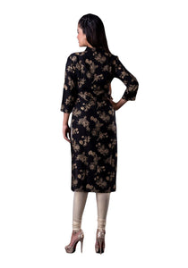 Black And Gold Printed 3/4th Sleeve Straight Kurti