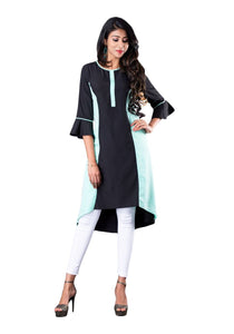 Black and mint colorblocked asymmetric 3/4th bell sleeve kurti