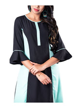 Load image into Gallery viewer, Black and mint colorblocked asymmetric 3/4th bell sleeve kurti