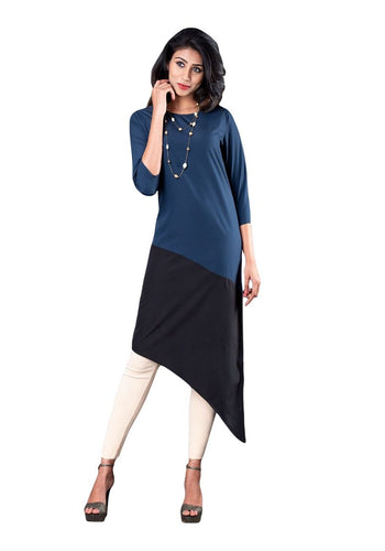 Black and Navy Color Blocked 3/4th Sleeve Asymmetric Kurti