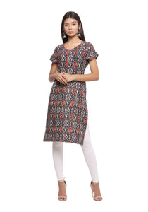 Black and red printed half sleeve kurti