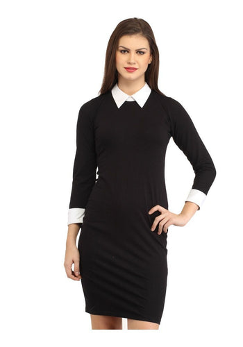 Black Cotton Solid 3/4th Sleeve Dress