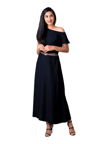 Black Flared sleeve, A-line gown