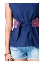 Load image into Gallery viewer, Blue Cut Sleeve Front Knotted Top