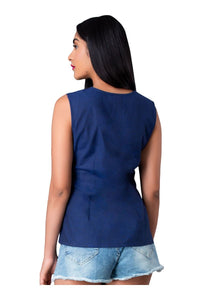 Blue Cut Sleeve Front Knotted Top