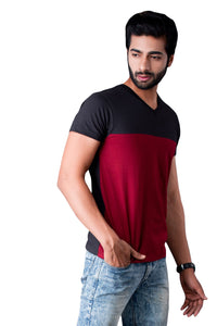 Maroon and Black Half Sleeve Cotton T-shirts