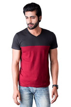 Load image into Gallery viewer, Maroon and Black Half Sleeve Cotton T-shirts