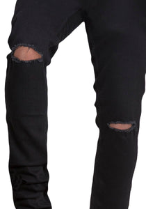 Black Regular Fit Mid Rise Men's Stretch Torn Jeans